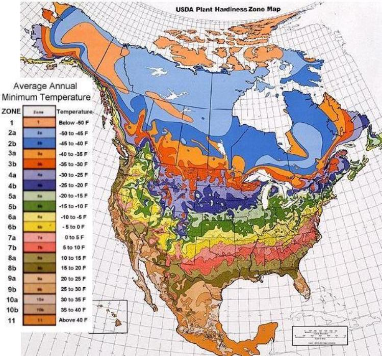 USDA Hardiness Zone Map - Find out when to plant your Heirloom Open Pollinated Garden.