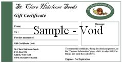 Heirloom and Open Pollinated Seeds Gift Certificate - St. Clare Heirloom Seeds